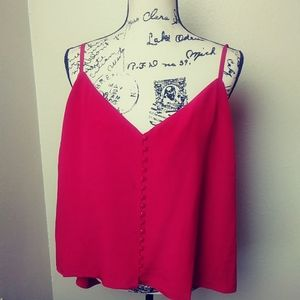 Madewell red silk buttoned cami plus size nwt